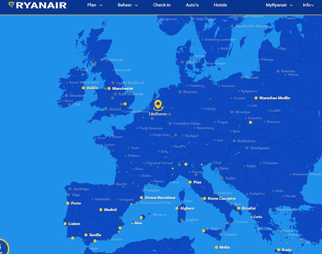 europese bestemmingen ryanair