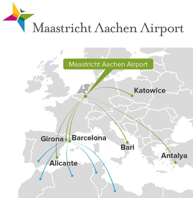 bestemmingen vliegveld maastricht